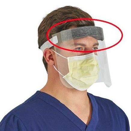 Pantalla de protección facial frente COVID-19 fabricada con burlete