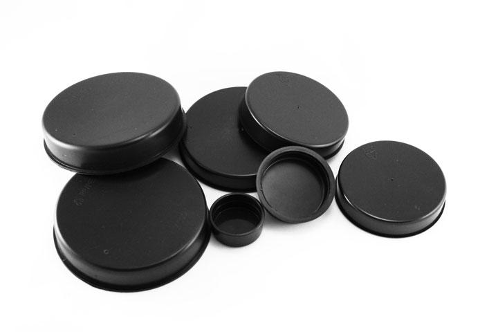 4 tapas protectoras para tubos redondos 16 mm, inclinado 15 grados oblicuos con doble suelo pl/ástico negro